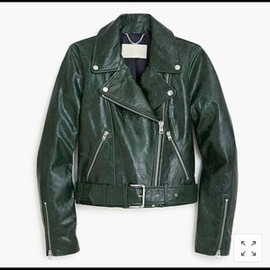 J.Crew cropped collection green leather jacket